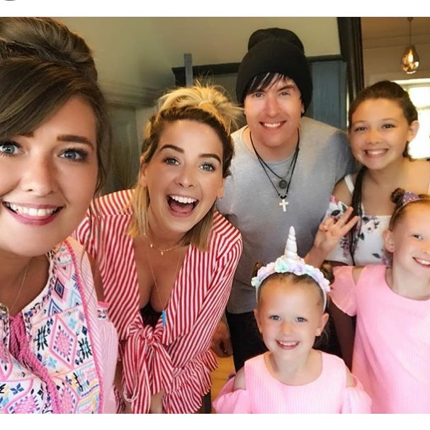 Zoella with ingham family
